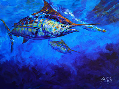 Flyfishing Painting - Shades Of Blue by Savlen Art