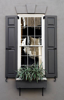 Glass Reflection Photograph - Shades Of Grey In Charleston by Skip Willits