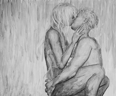 Passionate Painting - Shades Of Grey - Wet Romance by Nik Helbig