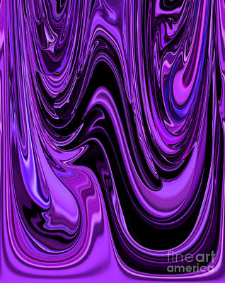 Shades Of Purple Ripple And Flow Together With Black Unique Abstract Print by Adri Turner
