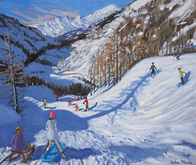 Shadow Of A Fir Tree And Skiers At Tignes Print by Andrew Macara