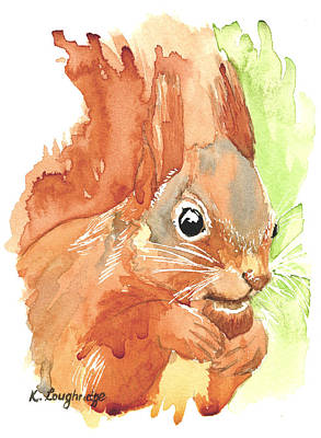 Squirrel Painting - Shadow Tail Red Squirrel by Karen  Loughridge KLArt