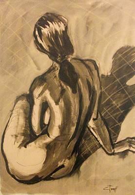 Sepia Ink Drawing - Shadows On The Sand2 - Nudes Gallery by Carmen Tyrrell