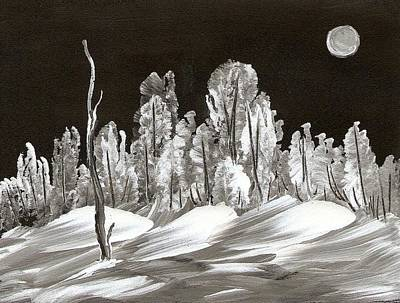 Snowscape Painting - Shadowy Winter's Eve by Ginger Lovellette