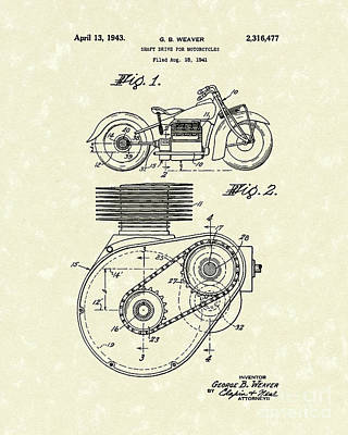 1943 Drawing - Shaft Drive 1943 Patent Art by Prior Art Design