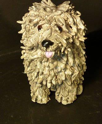 Sculpture - Shaggy Dog by Debbie Limoli