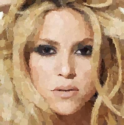Shakira Painting - Shakira Portrait by Samuel Majcen