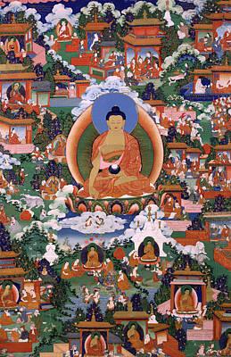 Buddhist Painting - Shakyamuni Buddha With Avadana Legend Scenes by Mountain Dreams
