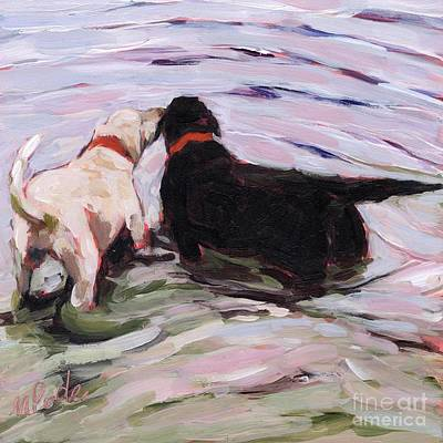 Yellow Dog Painting - Shallow End by Molly Poole