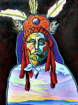 Multi Colored Painting - Shamans Power by Joe  Triano