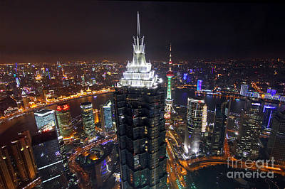 Shanghai At Night Print by Lars Ruecker