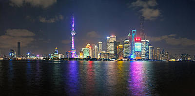 Shanghai At Night Print by Ulrich Schade