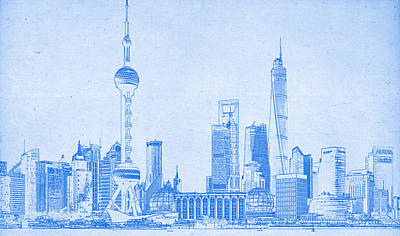 Shanghai Blueprint Print by Celestial Images