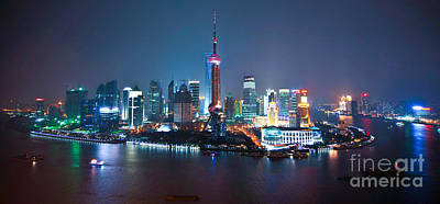 Shanghai Panorama Print by Delphimages Photo Creations