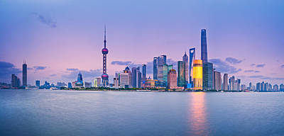 River Scenes Photograph - Shanghai Pudong Skyline  by Ulrich Schade
