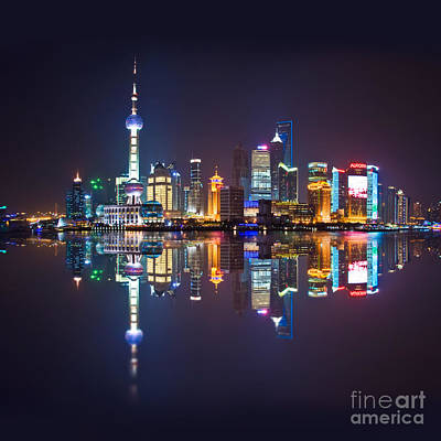 Shanghai Reflections Print by Delphimages Photo Creations