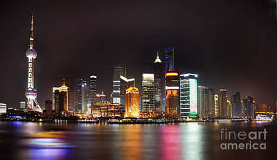 Shanghai China Photograph - Shanghai Skyline At Night by Delphimages Photo Creations