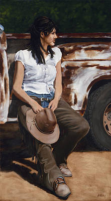 Old Trucks Painting - Shanti Waiting by Jack Atkins