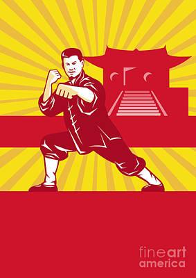 Jab Digital Art - Shaolin Kung Fu Martial Arts Master Retro by Aloysius Patrimonio