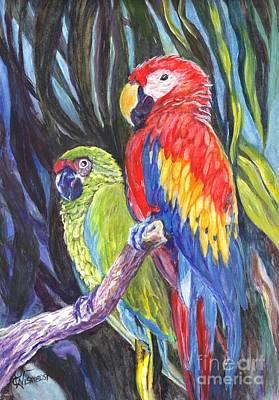 Macaw Drawing - We Are Sharing A Perch  by Carol Wisniewski