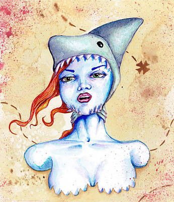 Subconscious Painting - Shark Hat by Christopher Moonlight