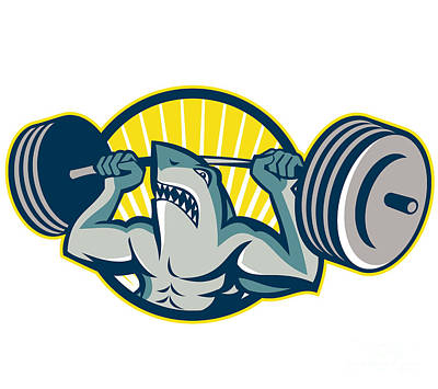 Shark Weightlifter Lifting Barbell Mascot Print by Aloysius Patrimonio