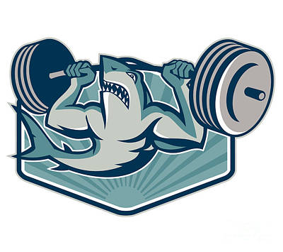 Shark Weightlifter Lifting Weights Mascot Print by Aloysius Patrimonio