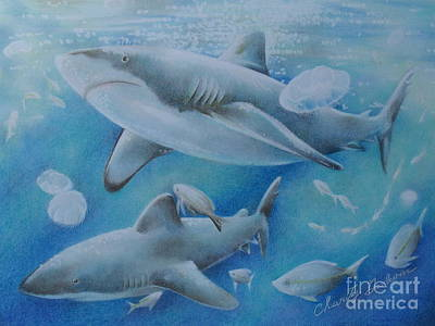 Sharks At Lunch  Print by Charity Goodwin