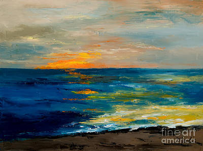 Contemporary Beach Painting - Sharon's Sunset by Larry Martin