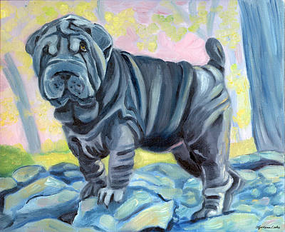 Sharpei ... A Blue Day Print by Lyn Cook