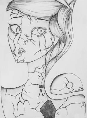 Sad Girl Drawing Drawing - Shatter by Reagan Monroe