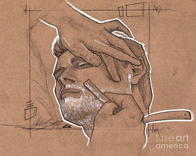 Chuck Drawing - Shave Therapy by Charles Edwards