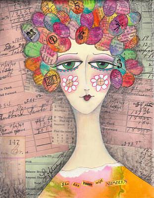 Hairdo Mixed Media - She Has Trouble With Numbers by Joann Loftus