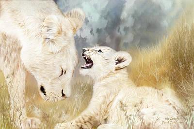 Lion Art Mixed Media - She Listens by Carol Cavalaris