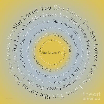 Beatles Digital Art - She Loves You 3 by Andee Design
