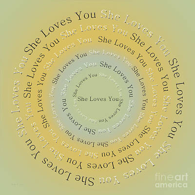 Typography Digital Art - She Loves You 4 by Andee Design