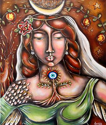 Sacred Feminine Moon Painting - She Who Has Faith In The Unknown by Jassy Watson