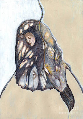 Microscopic Art Painting - She Who Weaves Herself Into The Web Of Life - No 1 by Milliande Demetriou