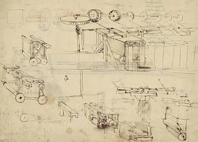 Da Vinci Reproductions Drawing - Shearing Machine For Fabrics And Its Components From Atlantic Codex  by Leonardo Da Vinci