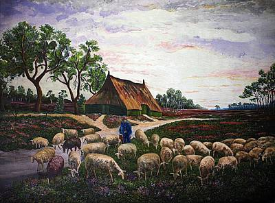 Dutch Shepherd Painting - Sheep At Daybreak by Andries Hartholt