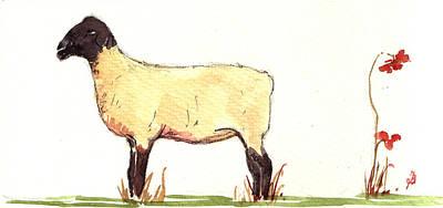 Sheep Black White Original by Juan  Bosco