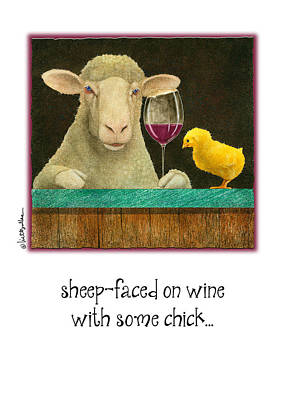 Wine Bar Painting - Sheep-faced On Wine With Some Chick... by Will Bullas