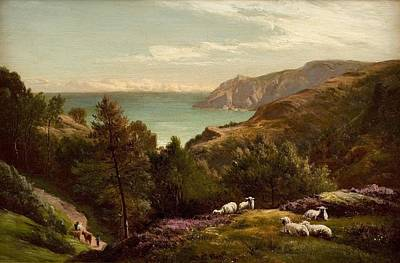 Grazing Painting - Sheep Grazing On A Hilltop by Celestial Images