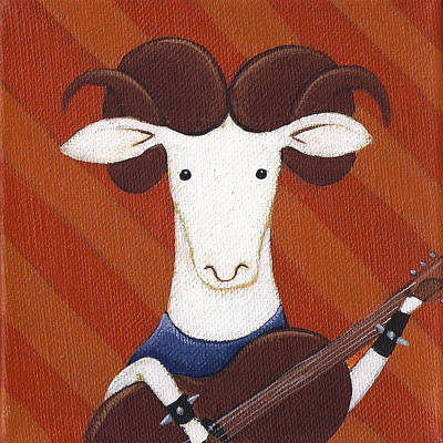 Ram Horn Painting - Sheep Guitar by Christy Beckwith