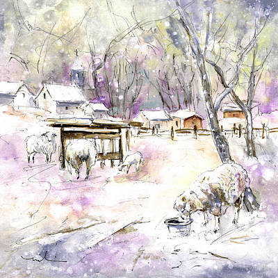 Sheep In Snow In Germany Print by Miki De Goodaboom