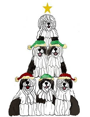 Sheepdog Mixed Media - Sheepdog Christmas Tree by Cathy Howard