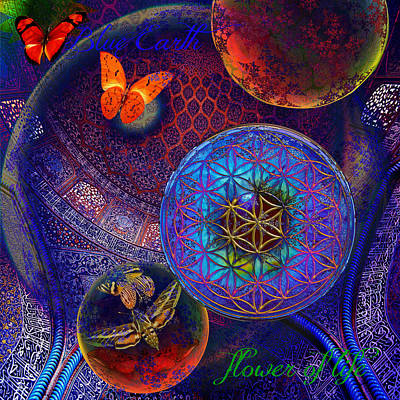 Butterfly Digital Art - Sheikh Lutfollah Mosque Flower by Joseph Mosley