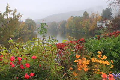 Shelburne Falls Bridge Of Flowers Autumn Mist Print by John Burk