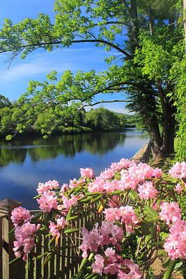 Shelburne Falls Deerfield River And Bridge Of Flowers Print by John Burk