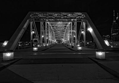 Shelby Avenue Bridge In Black And White Print by Dan Sproul